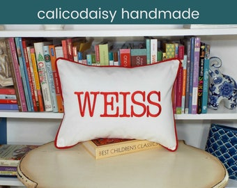 Large Font Name or Word Personalized Pillow Cover - Lumbar Size 12 x 16