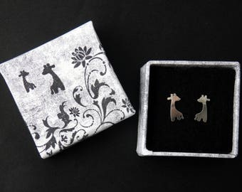 Handmad silver giraffe stud earrings, baby giraffe