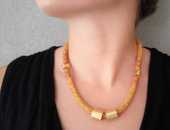 Gold Mesh Necklace, Big Funky Necklace, Statement Jewelry, Chunky Womens Necklace, Large Womens Golden Necklace,  Bib mesh Necklace