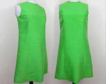 Lanz Original 1960s Shift Dress - Lime Green Silk blend - S-M