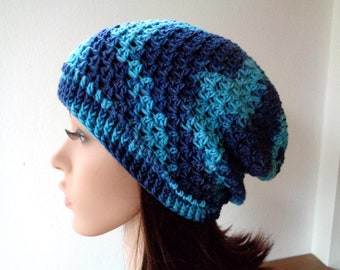 Size M, hand painted blue slouchy hat, wool slouchy hat, women slouchy hat, crochet beanie hat, blue beanie,21.5-23 inch, 54-57cm, 100% wool