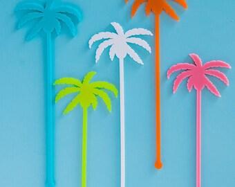 Drink Stirrers, Palm Springs Palm Trees, Swizzle Sticks, Laser Cut, 6 CT.