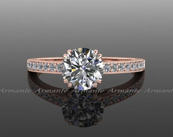 Rose Gold Solitaire Engagement Ring, Diamond And Moissanite Engagement Ring, 14K Rose Gold Round 1 Carat Moissanite Ring, Re00015r