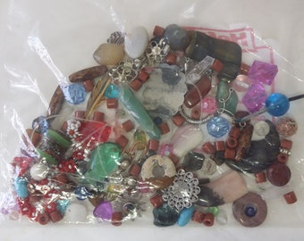 Assorted Bundle Vintage Jewelry Beads Charms Findings Stones Supplies