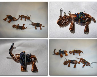 Vintage Small Animals Magnet Fridge Locker Magnets Elephant Lizard Set of 4 Small Magnets