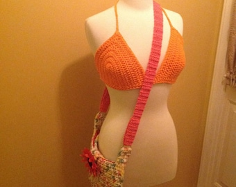 Summer Time  Colorful Crochet Messenger Bag. purse  accessory