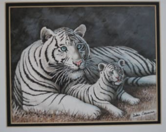 Siberian Tiger with Cub (neutral tones)