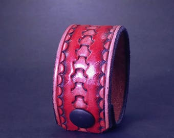 Tooled Leather Cuff in Red and Natural with Antiqued Finish