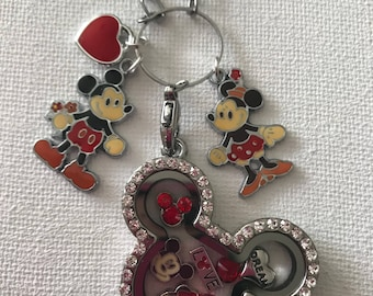 Mickey and Minnie Mouse Inspired Silver Stainless Steel Crystal Glass Memory Locket