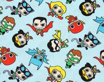 Justice League Super Heroes Character Fabric made in Korea, DC Comics Fabric / Half Yard