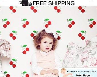 Cherries Wall Decal Vinyl Stickers - Cherry Decals Sticker For Kids Room / Baby Nursery Cute Fruit Wall Art Cherry Stickers - By Todeco
