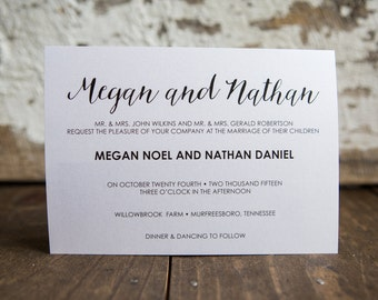 Wedding Invitation, Horizontal Wedding Invitation, Formal Wedding Invitation- Modern Script Wedding Suite : A7 Wedding Invitations