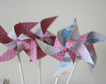 Party Favor 12 Mini Spinnable Pinwheels Butterfly Field (Custom orders welcomed)