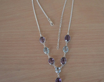 Blue Topaz Necklace,Amethyst Gemstone Necklace,Natural Amethyst Jewelry,925 sterling silver necklace, multi stone necklace,Topaz Necklace