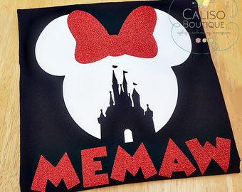 Disney Minnie Mouse Ears - Custom Vacation Shirts - Disney Vacation Mouse - Castle Ears - Glitter vinyl Tee - Matching Family Shirts