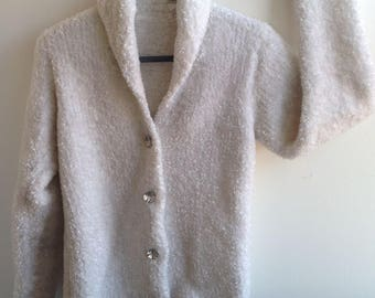Pure White Soft Knitted Woollen Cardigan/Sweater