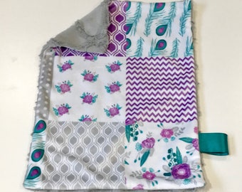 Purple and Teal Floral and Peacock Baby Girl MINKY Lovey Blanket, MINI Minky Baby Blanket, Taggie Blanket, Grey and Purple Flowers Blanket