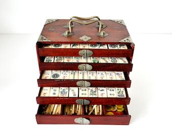 Vintage Mahjong Set in Wood Chest Bone & Bamboo