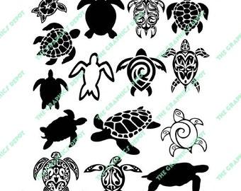 Sea Turtle SVG & EPS files - Instant Download - Cut Files - Digital Clipart - Vector Graphics - Cricut - Silhouette Cameo