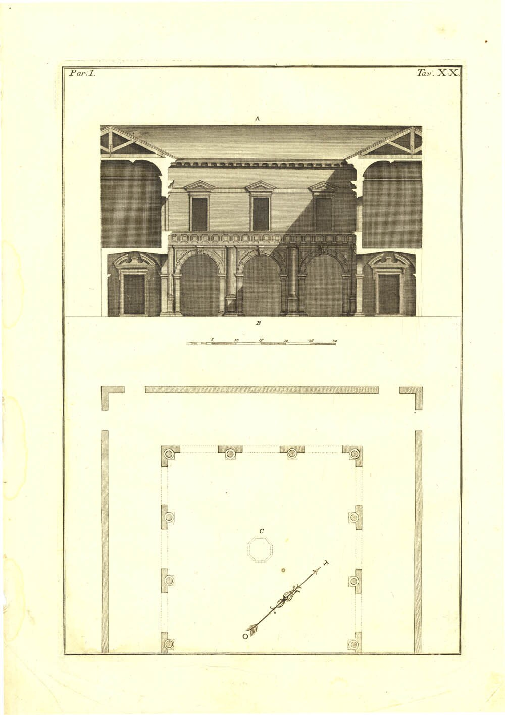 1760 Palladio Architectural Print Palazzo del Bo Floor Plan and Cross Section