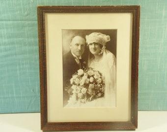 Antique Framed Wedding Portrait - Edwardian Bride Groom Photo