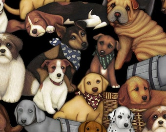 Quilting Treasures It's A Ruff Life Packed Dogs Black fabric - 1 yard