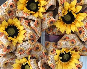 Sunflower Burlap Wreath