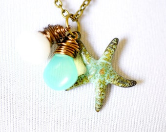 Mint Green Starfish Necklace, Gemstone Briolette Wire Wrap Stone Trio, Teal Verdigris, Nautical Patina Beach Starfish Jewelry
