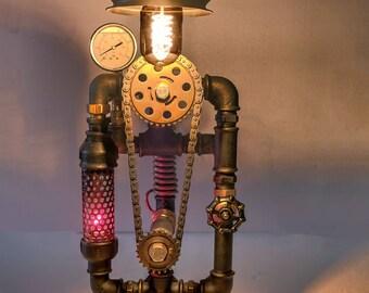 Steampunk water pipe industrial lamp
