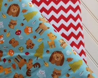 Riley-Blake-Designs-Happy-Camper-Forest-Friends-Cotton-Red-Chevron-Cotton-Fabric-By-The-Yard-Bundle-Options