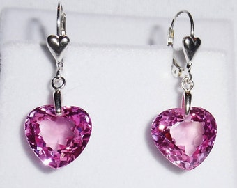Natural 25cts HEART Pink Topaz gemstones, Sterling Silver HEART Leverback Earrings