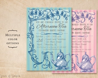 Printable Tea Party Birthday Invitation - 5x7 - Tea Party Vine - Vintage Teapot Floral Flower Blue Green Pink Purple
