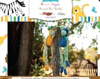 Riley Blake Mr. & Mrs. Monkey Kits- Sewing KIT  1 kit to make both Monkeys. Includes Zoofari fabric