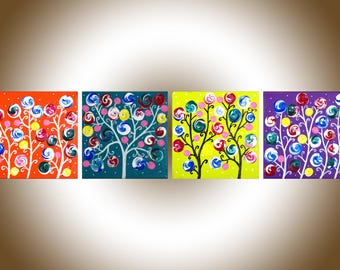 whimsical art colourful wall art wall decor abstract swirl flower painting Impasto art painting on canvas gift for her by qiqigallery