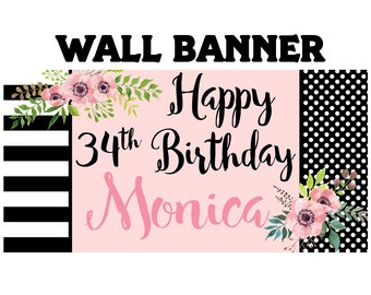 Happy Birthday Banner  ~ Birthday Blush Personalized Party Banners- Large Photo Banner, Printed Vinyl Banner, 30th Birthday Banner, Floral