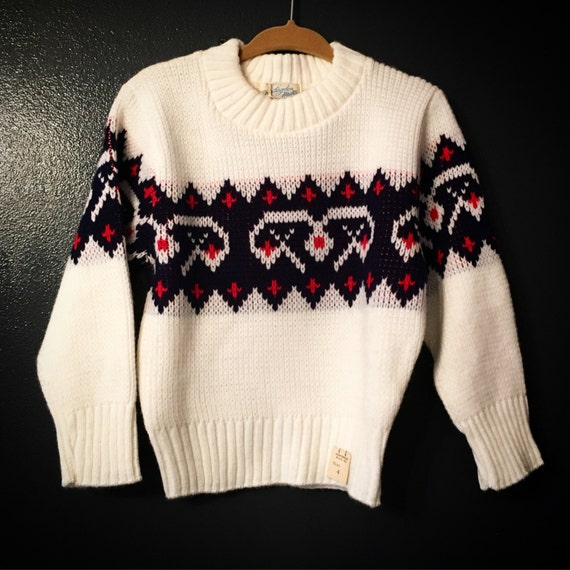 Vintage Toddler White, Red and Blue Sweater Size 4 100% Orlon Huntingdon Mills Brand SHIPS FREE