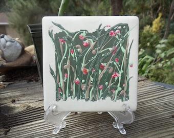 WILD Tangled Meadow Ceramic Tile Art (Dk Green Ragged)