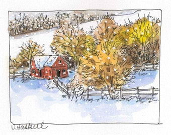 Young's Barn In The Snow, Original Watercolor