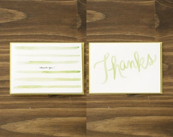 box of 8 variety watercolor stripes green thank you cards