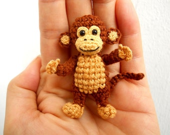 Mini Crocheted Monkey 2 inches - Miniature Monkey Stuffed Animal - Made To Order