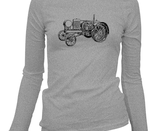 Women's Tractor V2 Long Sleeve Tee - S M L XL 2x - Ladies' Shirt, Farming Shirt, Farm Shirt, Farm Equipment, Farmer Gift, Farming Art