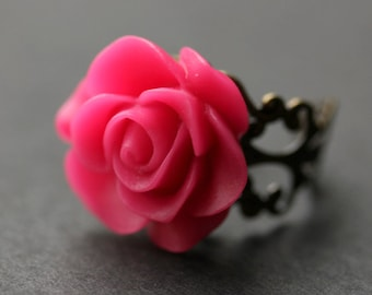 Hot Pink Rose Ring. Fuchsia Pink Flower Ring. Gold Ring. Silver Ring. Bronze Ring. Copper Ring. Adjustable Ring. Handmade Jewelry.