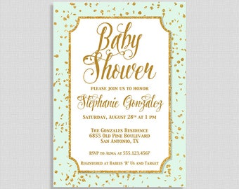 Mint Green and Gold Baby Shower Invitation, Gold Glitter Confetti Baby Shower Invite, Mint Invite, DIY PRINTABLE