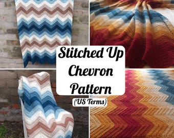 CROCHET PATTERN (US terms) - Stitched Up Chevron pattern, chevron pattern, Afghan pattern, blanket pattern, throw pattern, baby blanket