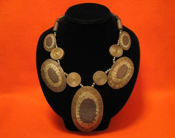 HUGE Vintage Mixed Metals Silver Copper Brass Etched Oval Fan Medallion and Black Wood Beaded Bib Necklace