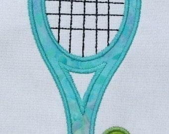 INSTANT DOWNLOAD Tennis Racquet Applique design