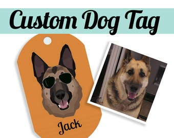 CUSTOM DOG TAG|  Made from your photo | Your pet on a dog tag! | Dog | Cat | Necklace |