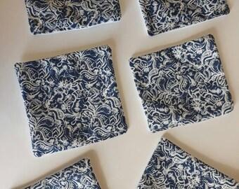 Set of 6 PAISLEY Print fabric coasters - HANDMADE