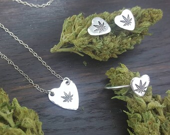 Cannabis Sweetheart Jewelry Gift Set- Handmade Hand Stamped Cannabis Jewelry by The Toke Shop