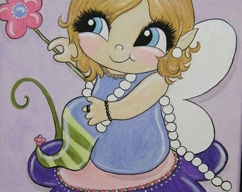 CUSTOM Whimsical Fairy or Mermaid Painting 11x14 - handpainted